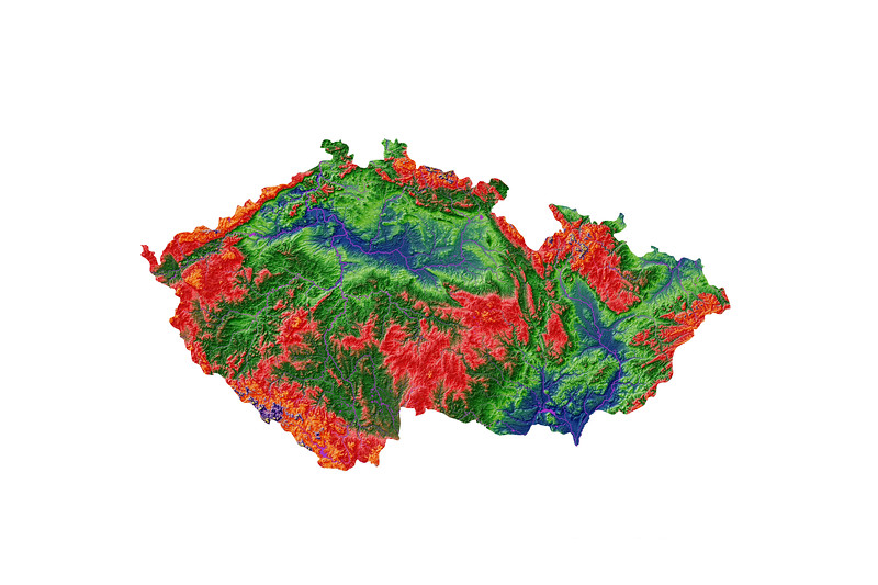 Elevation map of Czechia
