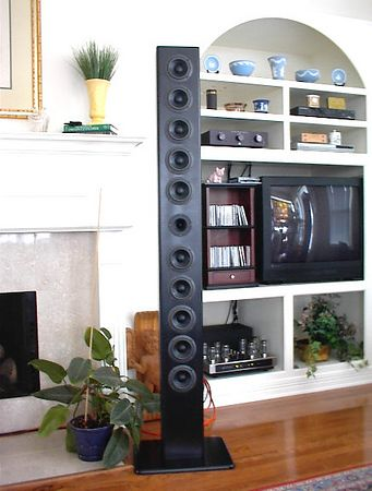 """The AnoreXiarray - 72"""" high, 7.5"""" wide, 5.5"""" deep, each cabinet having ten 4.5"""" Vifa/JBL BC11BG07-06 midwoofers and one Peerless 1"""" fabric dome horn loaded tweeter. Second order woofer crossover, 3rd order tweeter crossover at 2.9khz using Jantzen 15 & 18 ga air core inductors &  Solen capacitors. Shown here driven by a Sonic Frontiers Power 2 amp, about 100 watts overkill for these very sensitive speakers."""
