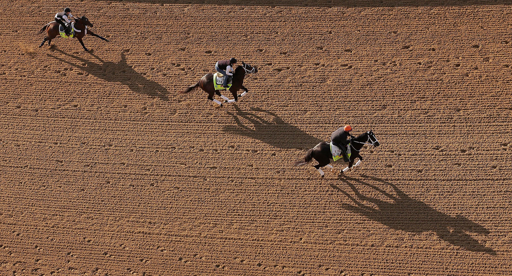 . Kentucky Derby hopefuls Falling Sky, left to right, Charming Kitten and Black Onyx go for a morning workout at Churchill Downs Wednesday, May 1, 2013, in Louisville, Ky. (AP Photo/Charlie Riedel)