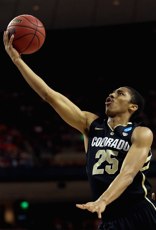 . AUSTIN, TX - MARCH 22:  Spencer Dinwiddie #25 of the Colorado Buffaloes lays up during the second round of the 2013 NCAA Men\'s Basketball Tournament against the Illinois Fighting Illini at The Frank Erwin Center on March 22, 2013 in Austin, Texas.  (Photo by Ronald Martinez/Getty Images)