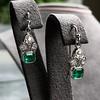2.00ctw+ Emerald and Diamond Art Deco Conversion Earrings 3
