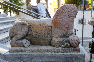 Two lions of Verona red marble