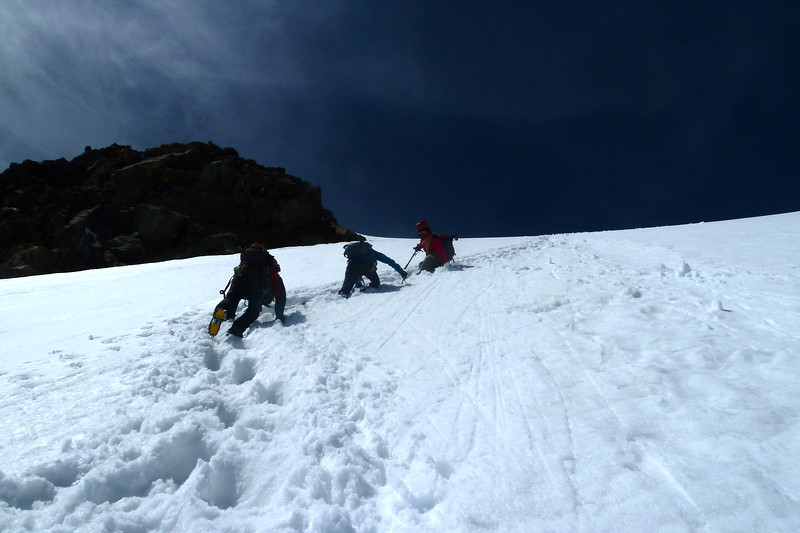 Descending the 40 degree final wall to summit