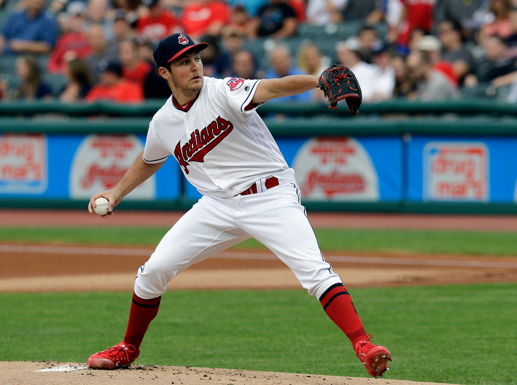 . Cleveland Indians starting pitcher Trevor Bauer delivers in the first inning of a baseball game against the Texas Rangers, Wednesday, June 28, 2017, in Cleveland. (AP Photo/Tony Dejak)