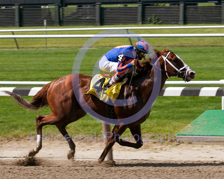 Munnings the speedy son of Champion sprinter Speightstown won the Woody Stephens coveing the 7 furlongs in 1:20.63 seconds ridden by John Velazquez and trained by Todd A. Pletcher.
