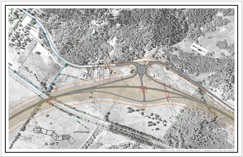 . CalTrans drawing of the northern interchange of the Willits bypass project.