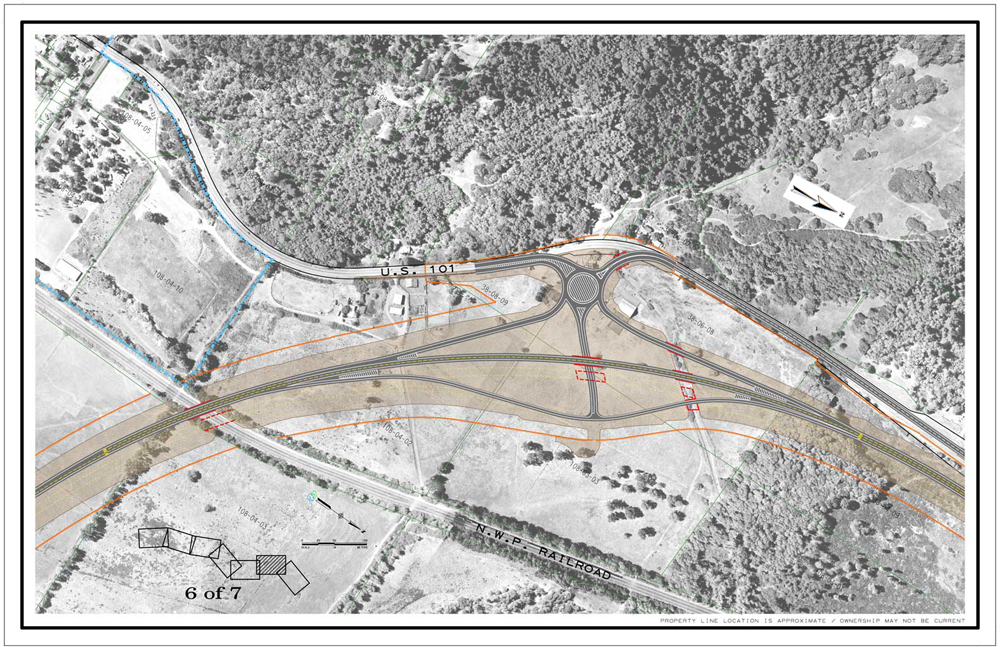 Description of . CalTrans drawing of the northern interchange of the Willits bypass project.