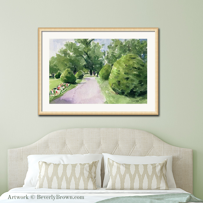 Boston Public Garden framed art over the bed. Boston artwork of a watercolor painting by Beverly Brown. Framed prints & canvas art in multiple sizes for sale at www.beverlybrown.com.