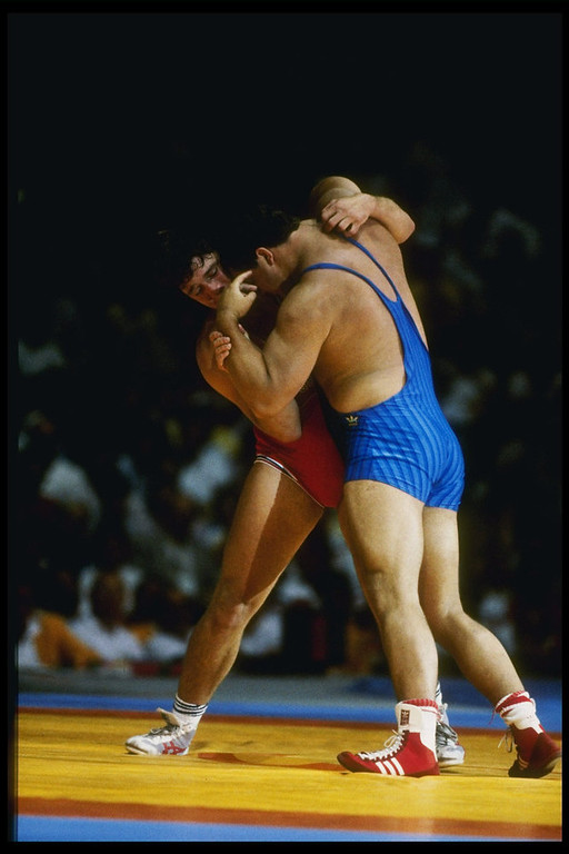 . Jeff Blatnick of the United States in action during the 1984 Summer Olympics in Los Angeles, California.