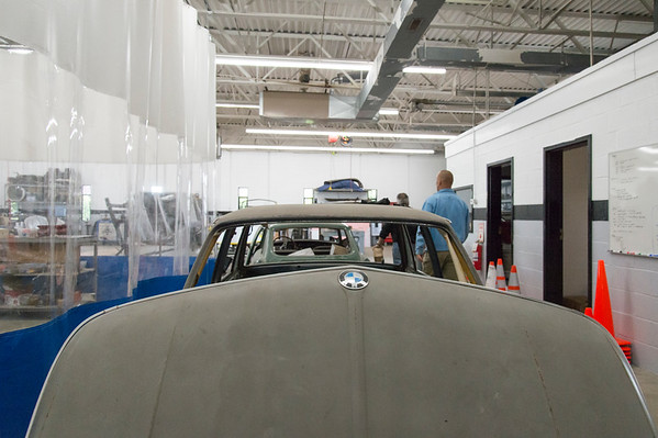 05/15/19 Wesley Bunnell | Staff A 1980's era BMW is stripped and waiting for paint at The Classic Car Restorations at 285 Columbus Boulevard.