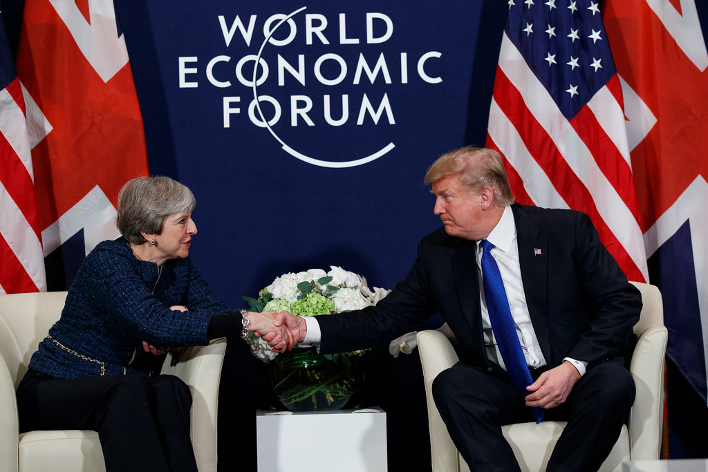 . President Donald Trump meets with British Prime Minister Theresa May at the World Economic Forum, Thursday, Jan. 25, 2018, in Davos, Switzerland. (AP Photo/Evan Vucci)