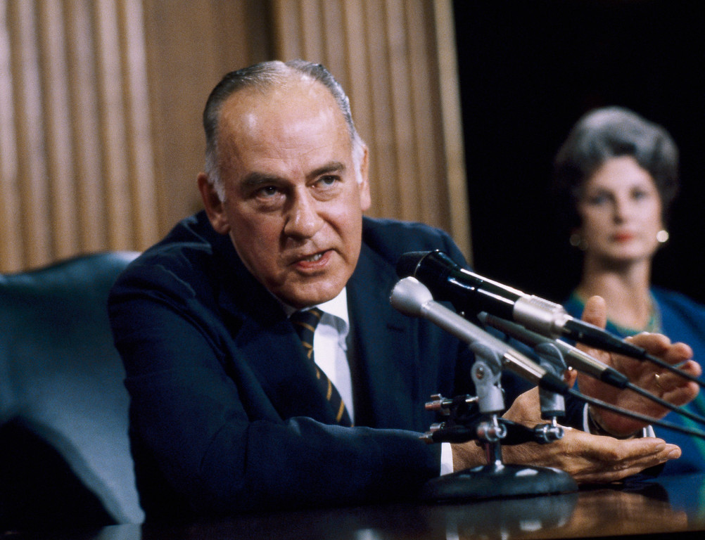 . Supreme Court Justice Potter Stewart at a news conference held at the court on Friday, June 19, 1981 in Washington.   Stewart, 66, appointed to the court in the 1958, announced his retirement.   (AP Photo)