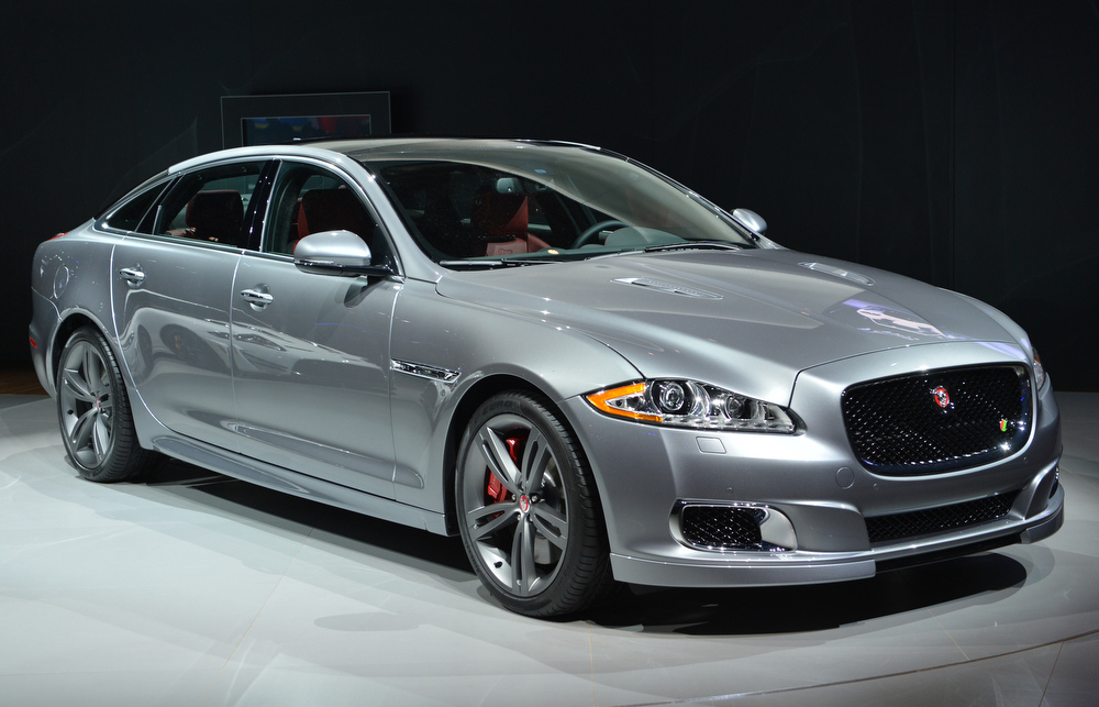 Description of . The Jaguar XJ R is unveiled during the first press preview day at the New York International Automobile Show March 27, 2013 in New York.  STAN HONDA/AFP/Getty Images