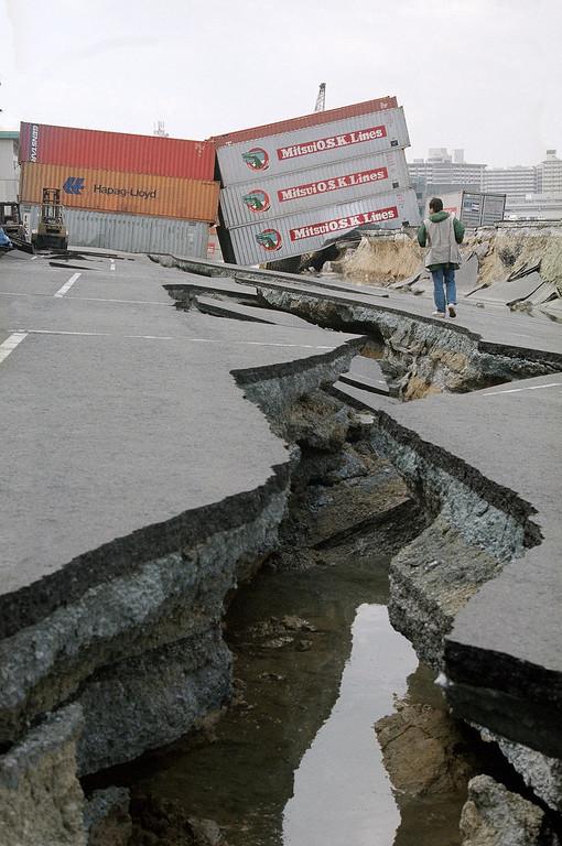 . Huge cracks have closed the Port of Kobe following last week\'s devastating earthquake as seen, Jan. 24, 1995 in Kobe, Japan. Ground at Kobe\'s port has shifted as much as ten feet in some areas. (AP Photo/Koji Sasahara)