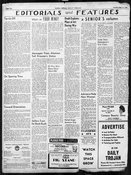 Daily Trojan, Vol. 34, No. 2, September 21, 1942