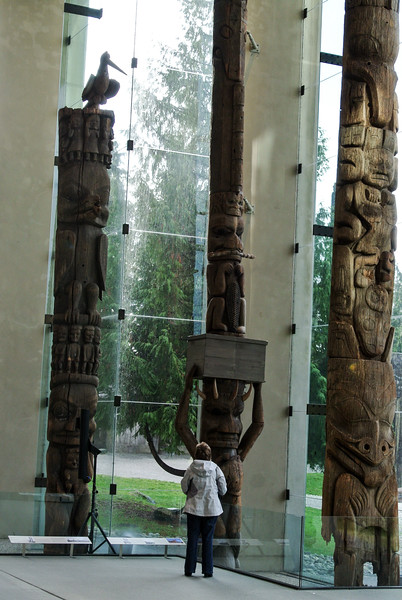 Mom admiring totem poles. UBC Museum of Anthropology.