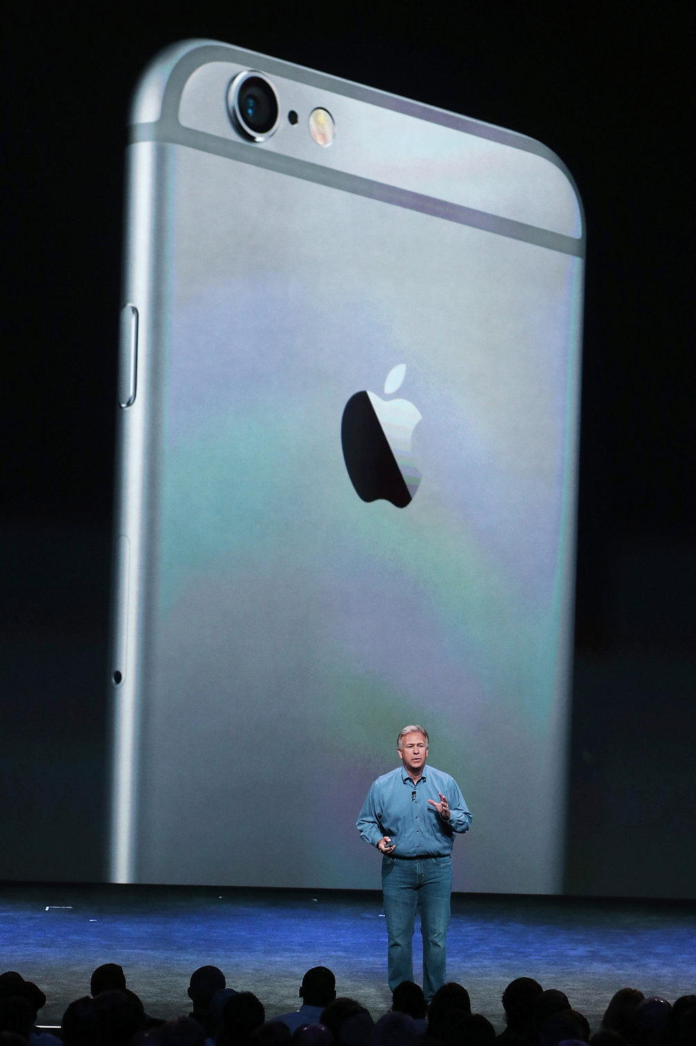 . Apple Senior Vice President of Worldwide Marketing Phil Schiller�announcees the new iPhone 6 during an Apple special event at the Flint Center for the Performing Arts on September 9, 2014 in Cupertino, California. Apple unveiled the two new iPhones the iPhone 6 and iPhone 6 Plus.  (Photo by Justin Sullivan/Getty Images)