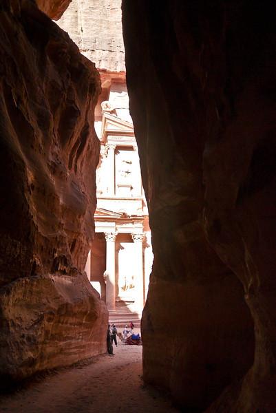 The Treasury appears slowly as you walk through the Siq in Petra, Jordan.