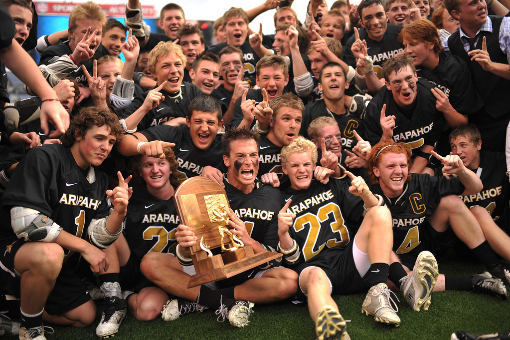 . DENVER, CO. - MAY 18 : Arapahoe High School players celebrate winning of 5A Boy\'s Lacrosse Championship game against Cherry Creek High School at Sports Authority Field at Mile High Stadium. Denver, Colorado. May 18, 2013. Arapahoe won 10-7. (Photo By Hyoung Chang/The Denver Post)