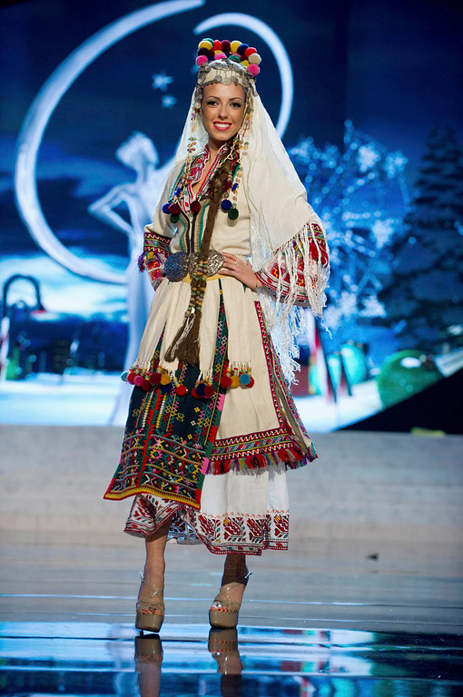 . Miss Bulgaria Zhana Yaneva performs onstage at the 2012 Miss Universe National Costume Show at PH Live in Las Vegas, Nevada December 14, 2012. The 89 Miss Universe contestants will compete for the Diamond Nexus Crown on December 19, 2012. REUTERS/Darren Decker/Miss Universe Organization L.P./Handout