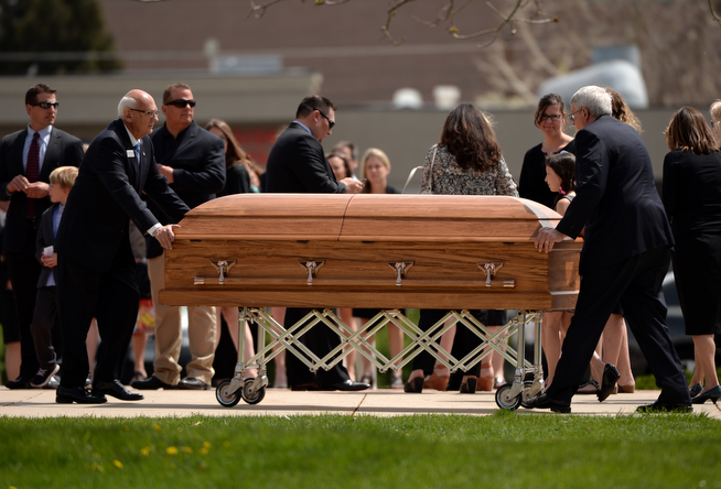 . Kristine Kirk, allegedly killed by her husband while she called 911, is memorialized at funeral mass at Most Precious Blood Catholic Church in Denver, Colorado, on April 25, 2014. (Photo by Hyoung Chang/The Denver Post)