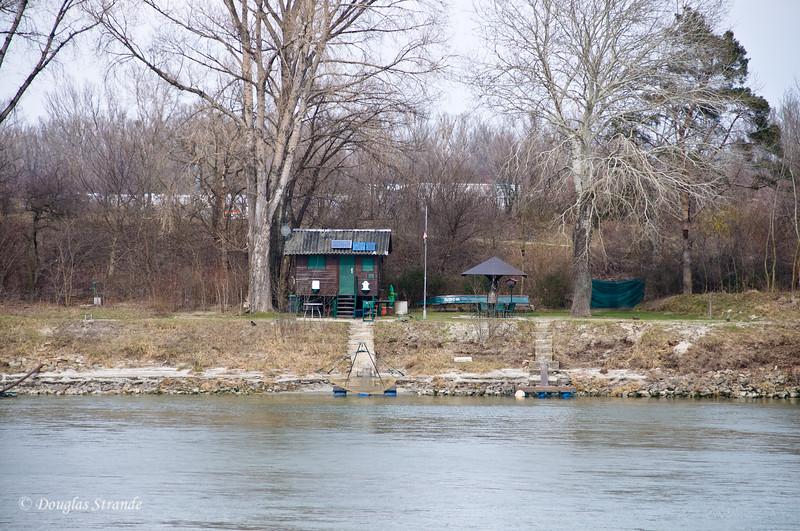 Rustic fishing cabins along the Danube