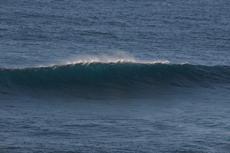 Drove the ruts down to 'Jaws'. No surfers, but some impressive curl action!