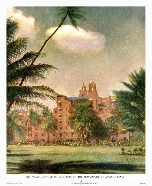 175: 'Royal Hawaiian Hotel' Paradise of the Pacific Illustration, ca 1935.