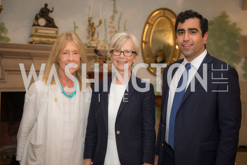 Catherine Stephens, Ambassador Kirsti Kauppi, Hamid Nasir,50th Annual Meridian Ball Leadership Committee Reception at the Blair House, co-hosted with Ambassador Sean P. Lawler.  September 13, 2018, Photo by Ben Droz.
