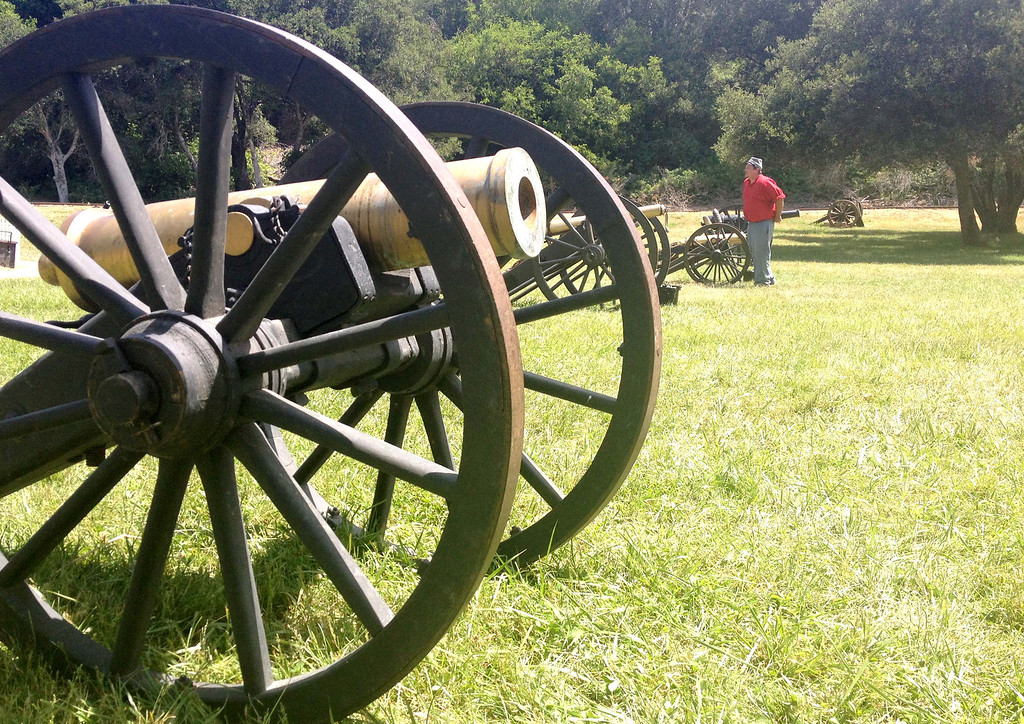 . Canons set at the ready for the American Civil War Association\'s battle and encampment reenactment at Roaring Camp Railroads in Felton, Calif., on Sunday, May 26, 2013. (Christina Gullickson/Sentinel)