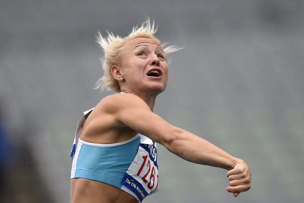 . Uzbekistan\'s Yuliya Tarasova competes in the women\'s heptathlon javelin throw athletics event during the 17th Asian Games at the Incheon Asiad Main Stadium in Incheon on September 29, 2014.  MARTIN BUREAU/AFP/Getty Images