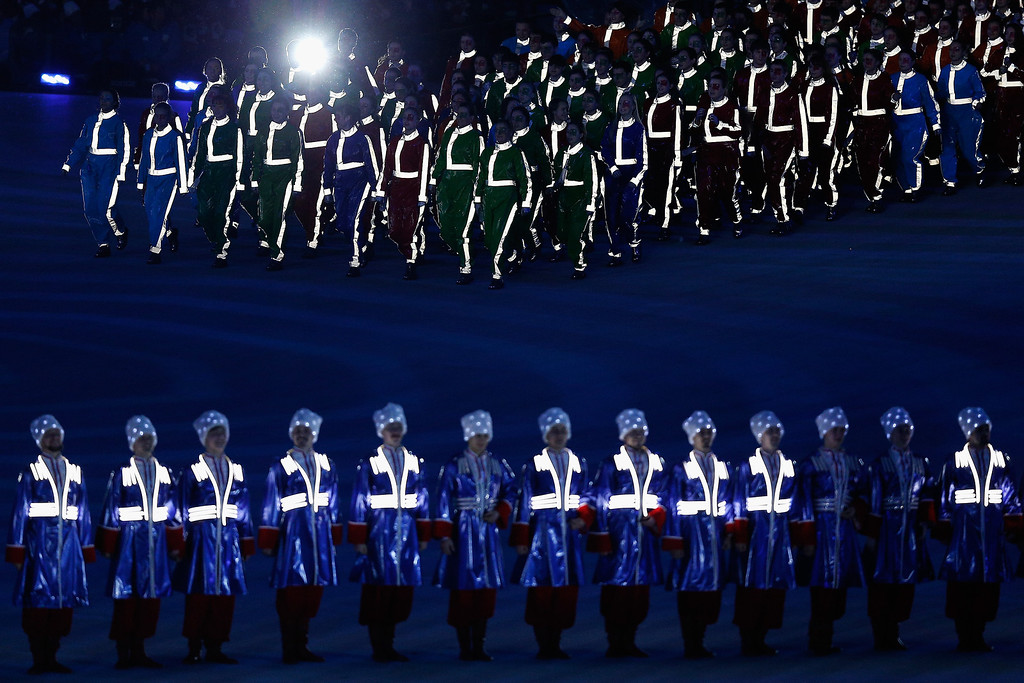. Dancers perform during the Closing Ceremony of the 2014 Paralympic Winter Games at Fisht Olympic Stadium on March 16, 2014 in Sochi, Russia.  (Photo by Harry Engels/Getty Images)