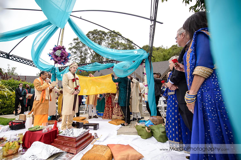 groom waiting for indian bride at Brazilian Room - Tilden Regional Park, Berkeley