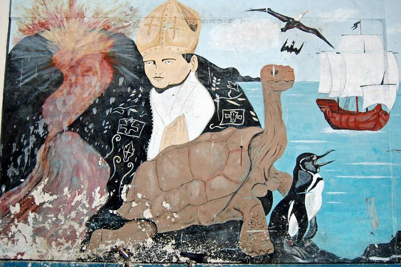 Mural in Santa Cruz: History of the Galapagos Fr. Tomas discovers the Islands