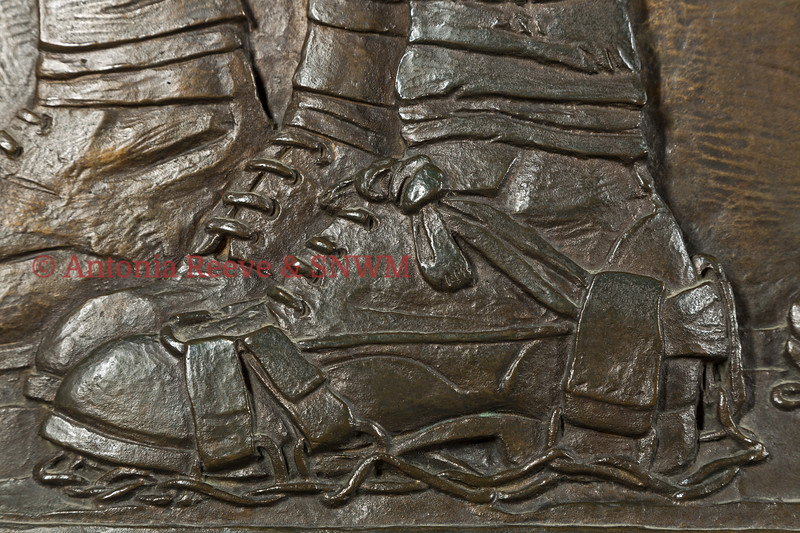 "Frieze Detail of Service Personnel  Left foot of Private The Royal Scots Fusiliers showing wire ""sandals"" used in desert conditions"