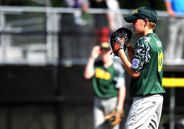 8/6/2018 Mike Orazzi   Staff Middletown New Jersey Little League's James Finer (10) during a win over the Berlin, Maryland Team at Breen Field in Bristol during the 2018 Little League Eastern Regional Tournament.