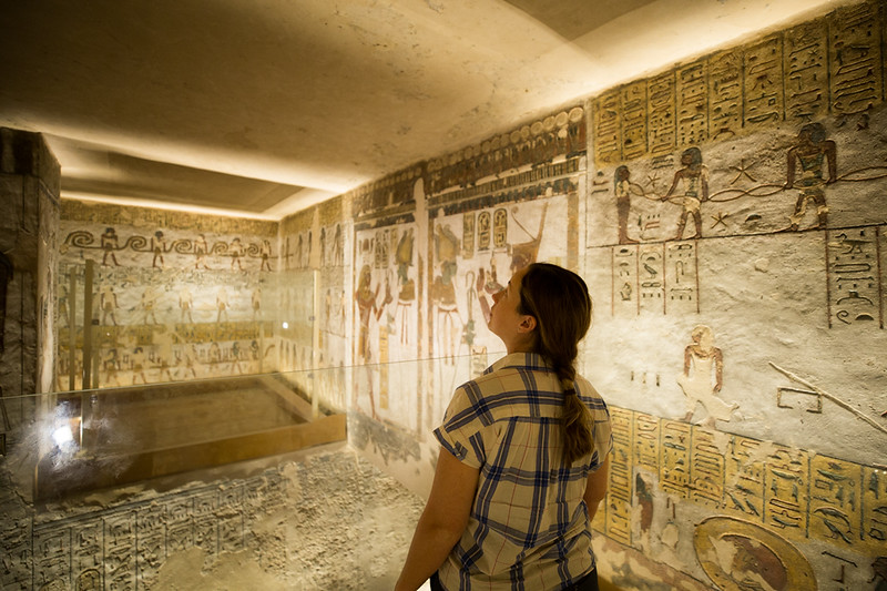 Lina Stock of Divergent Travelers Adventure Travel Blog a tomb in the Vally of the Kings in Egypt