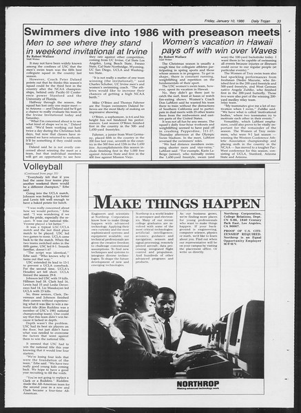 Daily Trojan, Vol. 100, No. 1, January 10, 1986