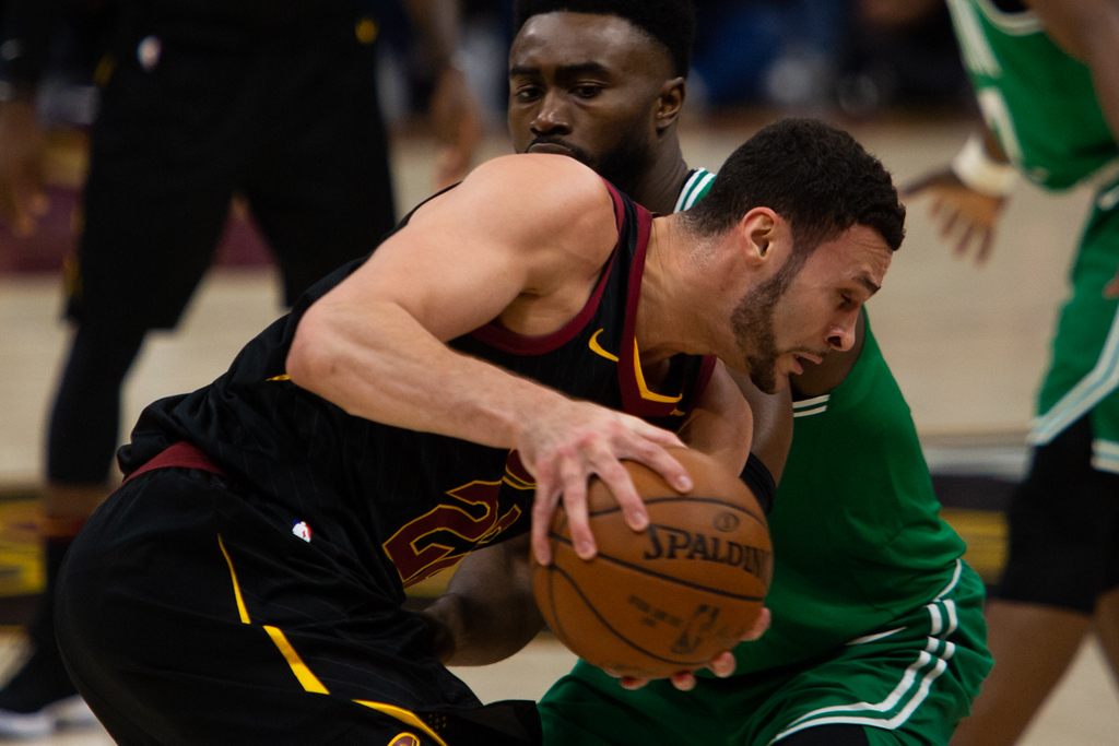 . Michael Johnson - The News-Herald Larry Nance Jr. of the Cleveland Cavaliers drives on Boston\'s Jaylen Brown on May 19, 2018.