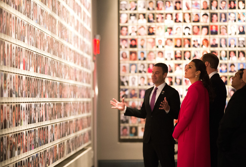. Prince William, Duke of Cambridge and Catherine, Duchess of Cambridge view displays during a visit the National September 11 Memorial & Museum on December 09, 2014 in New York City.  The couple, who are traveling without their son Prince George, are on a three-day US east coast visit. This is the Duke and Duchess\' first official visit to New York City. ( Photo by Doug Mills - Pool/Getty Images)