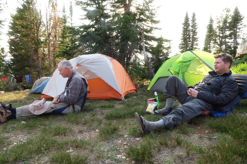 Greg and Wilson chill at Sunset Lake Campsite