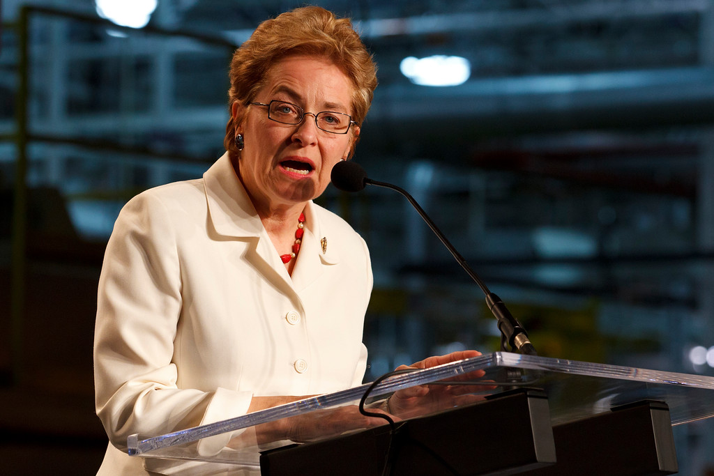 . US Senator Marcy Kaptur speaks during the news conference to announce new investments by GM at the General Motors Transmission Plant inToledo, Ohio, Tuesday, May 10, 2011. (AP Photo/Rick Osentoski)
