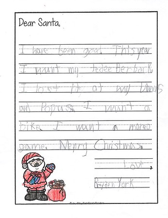 Ms. Armstrong's First Grade Letters to Santa, 12/11/2019
