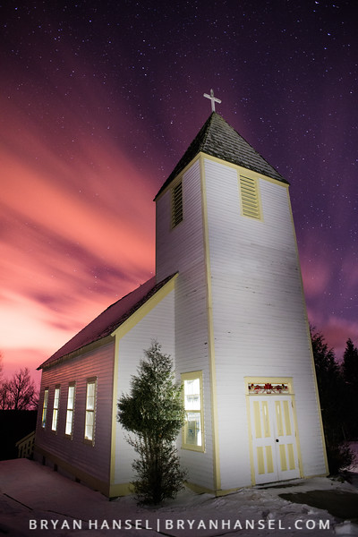 Maple Hill Church at Night 2