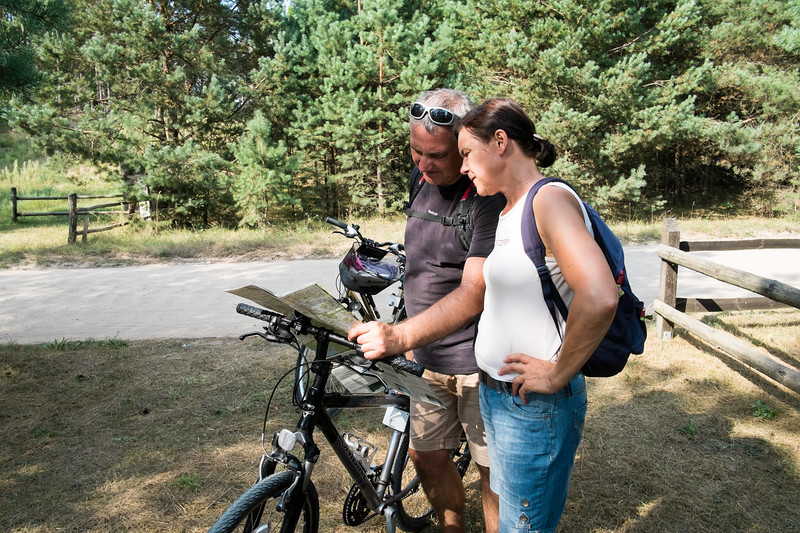 Family on a cycling holiday, Giby, Poland