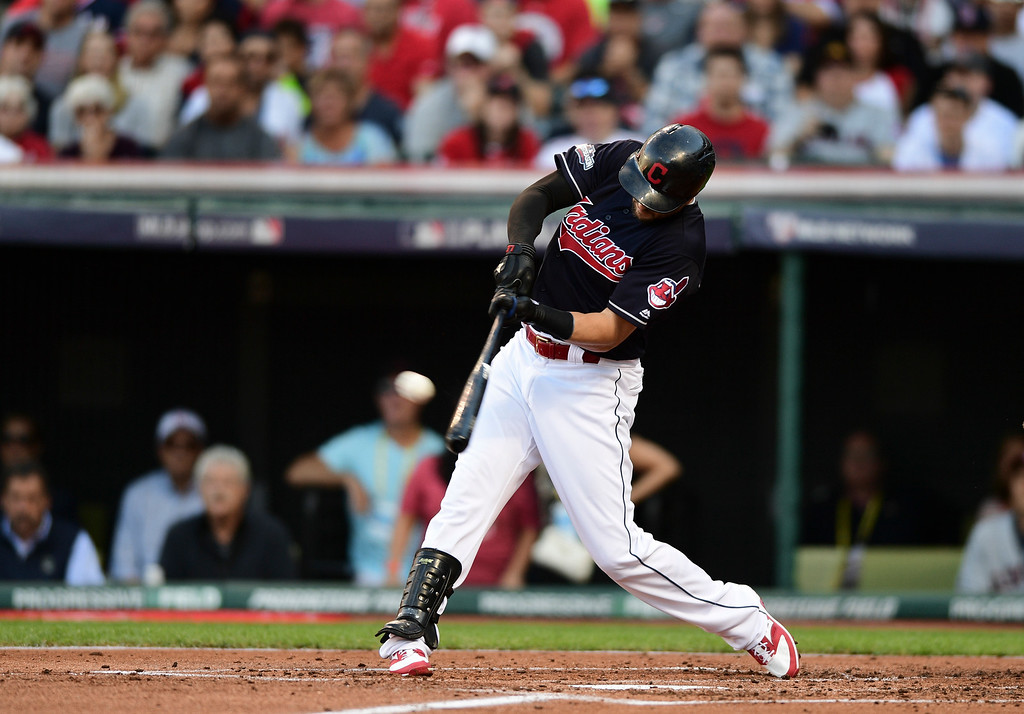 . Cleveland Indians\' Lonnie Chisenhall hits a three-run home run against the Boston Red Sox in the second inning during Game 2 of baseball\'s American League Division Series, Friday, Oct. 7, 2016, in Cleveland. (AP Photo/David Dermer)