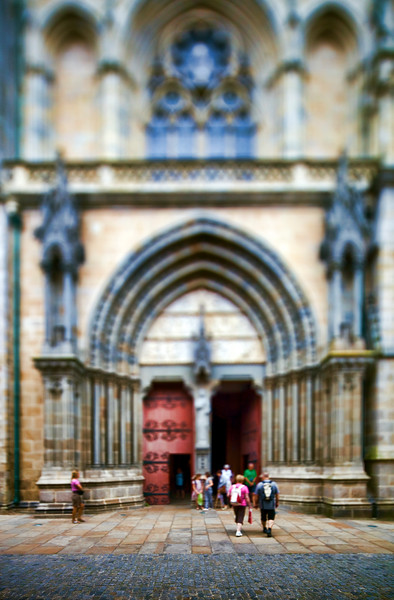 Entrance of Saint Pierre Cathedral, town of Vannes, departament de Morbihan, Brittany, France. Tilted lens used for shallow depth of field.
