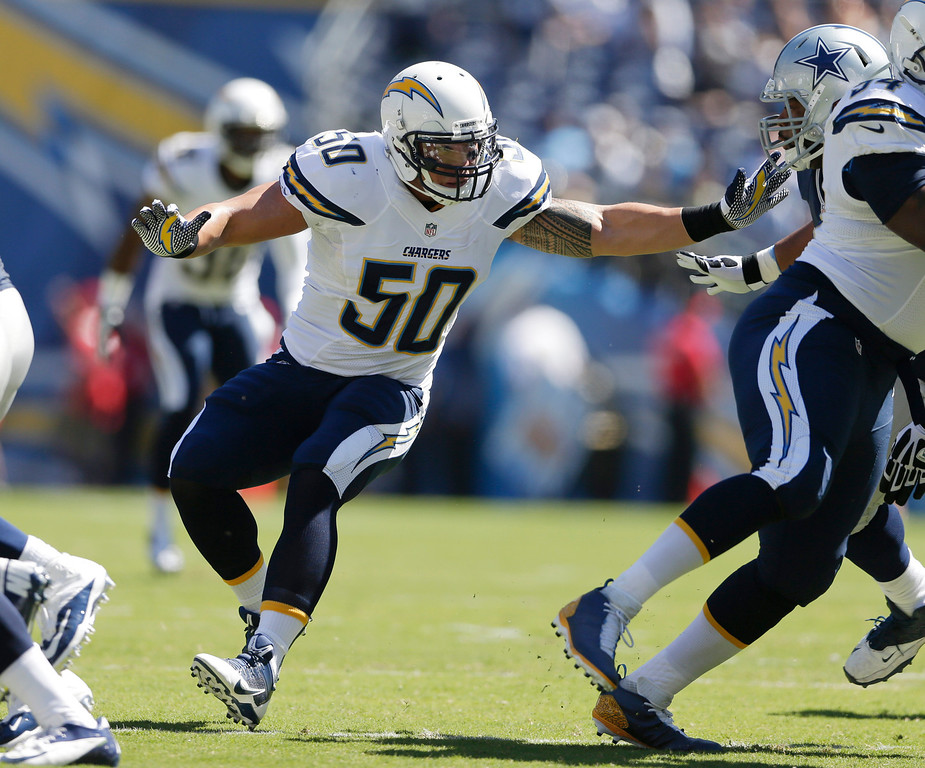 . San Diego Chargers inside linebacker Manti Te\'o plays against the Dallas Cowboys during the first half of an NFL football game Sunday, Sept. 29, 2013, in San Diego. (AP Photo/Gregory Bull)