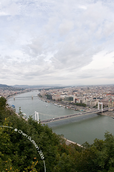 Erzsebet bridge and The Danube flows.
