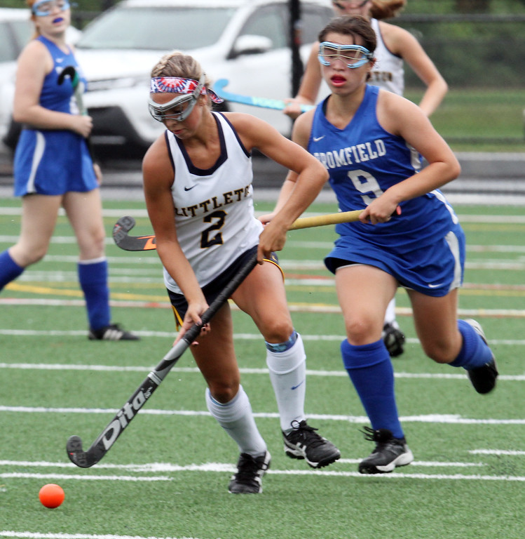 . Littleton vs Bromfield field hockey. Littleton\'s Molly Magnette (2) and Bromfield\'s Jordan Hoover (9). (SUN/Julia Malakie)